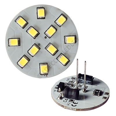 G4 12SMD 10-30 Vdc Back Pin 2.4W Cool White LED Bulb