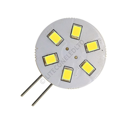G4 6SMD 10-30 Vdc Side Pin 1.2W Cool White LED Bulb