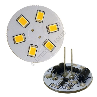 G4 6SMD 10-30 Vdc Back Pin 1.2W Warm White LED Bulb