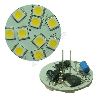 G4 10SMD 10-30 Vdc Back Pin 2.0W Warm White LED Bulb