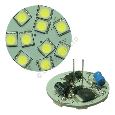 G4 10SMD 10-30 Vdc Back Pin 2.0W Cool White LED Bulb