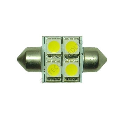 Festoon 31mm 4SMD 5050 10-30v DC 0.8W Warm White