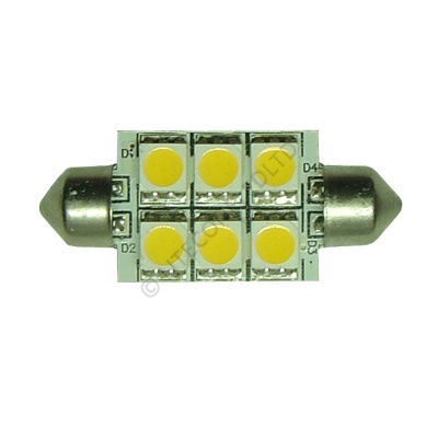 Festoon 37mm 6SMD 5050 10-30v DC 1.2W Warm White