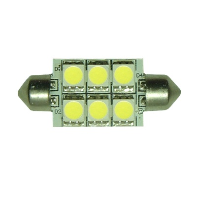 Festoon 37mm 6SMD 5050 10-30v DC 1.2W Cool White