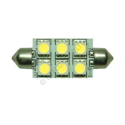 Festoon 42mm 6SMD 5050 10-30v DC 1.2W Cool White