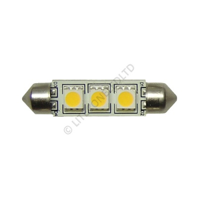 Festoon 42mm 3SMD 5050 10-30v DC 0.6W Warm White