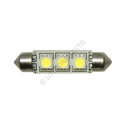 Festoon 42mm 3SMD 5050 10-30v DC 0.6W Cool White