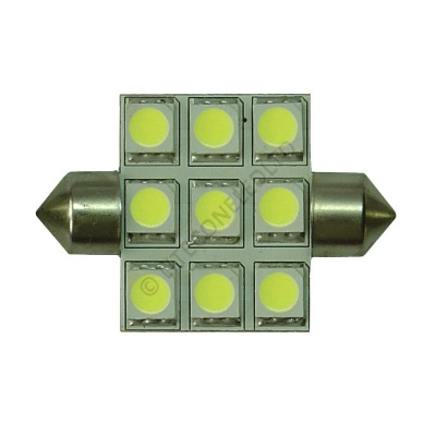 Festoon 42mm 9SMD 5050 10-30v DC 1.8W Cool White