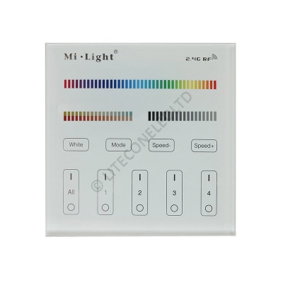 Wall Mount T4 MiLight 2.4Ghz 4 Zone RGB + CCT Controller