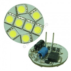 G4 8SMD 10-30 Vdc Back Pin 1.6W Cool White LED Bulb