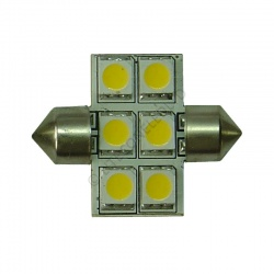 Festoon 31mm 6SMD 5050 10-30v DC 1.0W Warm White